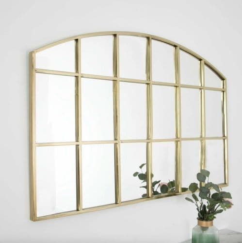 MODERN ARCHED GOLD METAL WALL HANGING WINDOW MIRROR 120cm